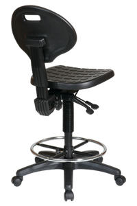 KH570 Intermediate Ergonomic Drafting Chair with Adjustable Footrest ·Contour Self-Skinned Urethane Seat and Back ·One Touch Pneumatic Seat Height Adjustment ·Back Height Adjustment ·Multi Task Control ·Adjustable Footrest ·Heavy Duty Nylon Base with Dual Wheel Carpet Casters ·GREENGUARD Indoor Air Quality Certified®