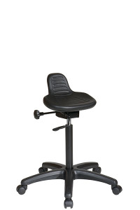 Saddle Seat Stool with Seat Angle Adjustment • Black Self-Skinned Urethane Seat • One Touch Pneumatic Seat Height Adjustment with Seat Tilt • Heavy Duty Nylon Base with Dual Wheel Carpet Casters • This product has achieved GREENGUARD Certification