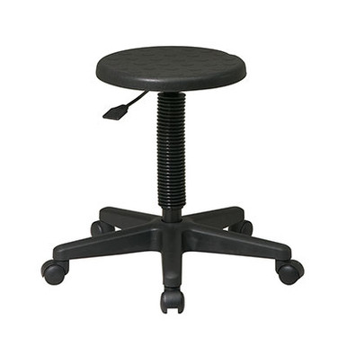Intermediate Stool with Dual Wheel Carpet Casters • Black Self-Skinned Urethane Seat • One Touch Pneumatic Seat Height Adjustment • Heavy Duty Nylon Base with Dual Wheel Carpet Casters • This product has achieved GREENGUARD Certification