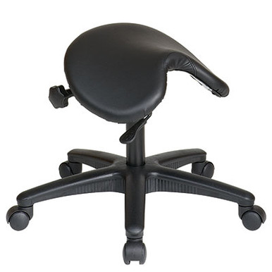 "Backless Stool with Saddle Seat • Thick Padded Seat • One Touch Pneumatic Seat Height Adjustment • Adjustable Seat Angle • Height Adjustment: 19"" to 24"" • Heavy Duty Nylon Base with Dual Wheel Carpet Casters • Has achieved GREENGUARD Certification"