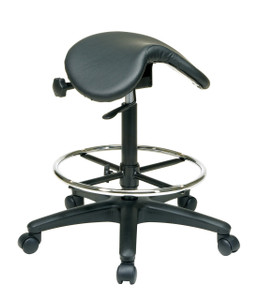 Office Star Work Smart ST205 Backless Stool with Saddle Seat, Dual Wheel Carpet Casters, Nylon Base and Seat Angle Adjustment