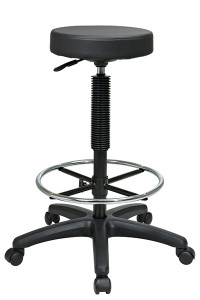 "Backless Stool with Adjustable Footring • Thick Padded Seat • One Touch Pneumatic Seat Height Adjustment • Height Adjustment: 23"" to 33"" • Adjustable Chrome Footring • Heavy Duty Nylon Base with Dual Wheel Carpet Casters • Has achieved GREENGUARD Certification"