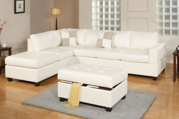 3-PCS SECTIONAL (OTTOMAN INCLUDED) WHITE