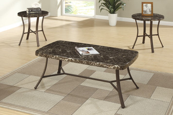3-PCS COFFEE TABLE SET, FAUX MARBLE TOP