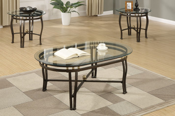 3-PCS COFFEE TABLE SET, 8MM BEVELED GLASS TOP