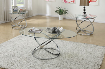 3-PCS COFFEE TABLE SET, 8MM TEMPERED GLASS TOP
