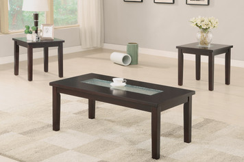 3-PCS COFFEE TABLE SET, 5MM WATERMARK TEMPERED GLASS TOP INLAY