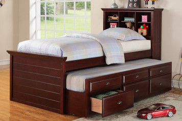 TWIN SIZE BED W/TRUNDLE, WOOD CHERRY FINISH