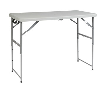 4' Height Adjustable Fold in Half Resin Multi Purpose Table
