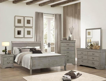EUGENIA QUEEN BEDROOM SUITE 4PC RUSTIC GREY