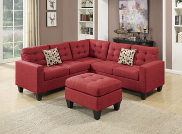 4PC SECTIONAL SET CARMINE