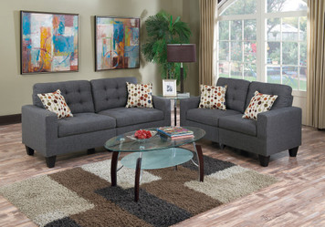 2PC SOFA SET BLUE GREY
