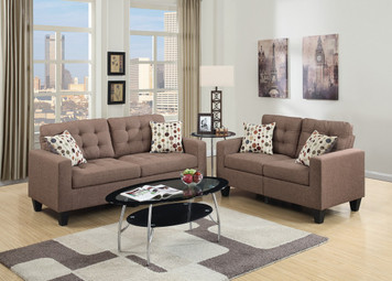 2PC SOFA SET LIGHT COFFEE