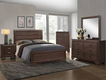 FARROW QUEEN BEDROOM SUITE 4PC CHOCOLATE FINISH