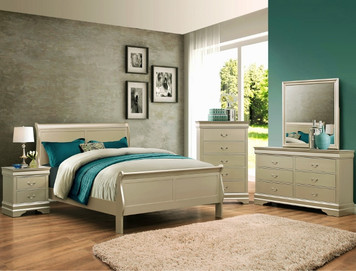 EUGENIA QUEEN BEDROOM SUITE 4PC CHAMPAGNE