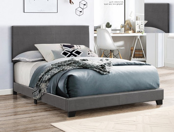 ERIN QUEEN BED GREY PU