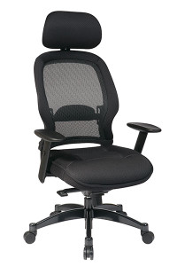 Breathable Mesh Back Managers Chair with Adjustable Headrest • Breathable Mesh Back with Adjustable Lumbar Support • Thick Padded Mesh Seat • One Touch Pneumatic Seat Height Adjustment • Infinite Locking 2-to-1 Synchro Knee Tilt Control   with Adjustable Tilt Tension • Adjustable Headrest • Height-Adjustable Angled Arms with Soft PU Pads • Heavy Duty Gunmetal Finish Base   with Oversized Dual Wheel Carpet Casters • This product has achieved GREENGUARD certification