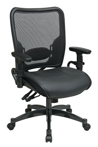 Professional Dual Function Dark Air Grid® Back Chair with Black Leather Seat • Breathable Dark Air Grid® Back   with Adjustable Lumbar Support • Thick Padded Black Top Grain Leather Seat • Pneumatic Seat Height Adjustment • Dual Function Control with Adjustable Tilt Tension • Height-Adjustable Arms with PU Pads • Heavy Duty Gunmetal Finish Base   with Dual Wheel Carpet Casters • This product has achieved GREENGUARD certification