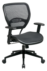 Professional Dark Air Grid® Seat and Back Chair • Breathable Dark Air Grid® Seat and Back   with Built-In Lumbar Support • One Touch Pneumatic Seat Height Adjustment • 2-to-1 Synchro Tilt Control with Adjustable Tilt Tension • Height-Adjustable Angled Arms with Soft PU Pads • Heavy Duty Angled Nylon Base   with Oversized Dual Wheel Carpet Casters • This product has achieved GREENGUARD certification