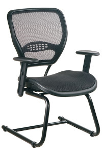 Professional Dark Air Grid® Seat and Back Visitors Chair • Breathable Dark Air Grid® Seat and Back   with Built-In Lumbar Support • Height-Adjustable Arms with PU Pads • Heavy Duty Black Finish Sled Base • This product has achieved GREENGUARD certification
