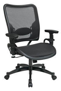 Deluxe Dark Air Grid® Seat and Back Managers Chair • Breathable Dark Air Grid® Seat and Back   with Adjustable Lumbar Support • Pneumatic Seat Height Adjustment • 2-to-1 Synchro Tilt Control with Adjustable Tilt Tension • Height Adjustable Arms with PU Pads • Heavy Duty Gunmetal Finish Base   with Dual Wheel Carpet Casters • This product has achieved GREENGUARD certification