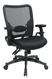 Professional Dual Function Dark Air Grid® Back Chair with Black Mesh Seat • Breathable Dark Air Grid® Back   with Adjustable Lumbar Support • Thick Padded Black Mesh Seat • Pneumatic Seat Height Adjustment • Dual Function Control with Adjustable Tilt Tension • Height-Adjustable Arms with PU Pads • Heavy Duty Gunmetal Finish Base   with Oversized Dual Wheel Carpet Casters • This product has achieved GREENGUARD certification