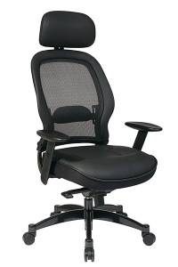 Breathable Mesh Back Managers Chair with Adjustable Headrest • Breathable Mesh Back with Adjustable Lumbar Support • Thick Padded Leather Seat • One Touch Pneumatic Seat Height Adjustment • Infinite Locking 2-to-1 Synchro Knee Tilt Control   with Adjustable Tilt Tension • Adjustable Headrest • Height-Adjustable Angled Arms with Soft PU Pads • Heavy Duty Gunmetal Finish Base   with Oversized Dual Wheel Carpet Casters • This product has achieved GREENGUARD certification