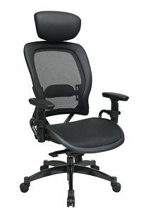 Breathable Mesh Seat and Back Managers Chair with Adjustable Headrest • Breathable Mesh Seat and Back   with Adjustable Lumbar Support • One Touch Pneumatic Seat Height Adjustment • Infinite Locking 2-to-1 Synchro Knee Tilt Control   with Adjustable Tilt Tension • Adjustable Headrest • Height-Adjustable Arms with PU Pads • Heavy Duty Gunmetal Finish Base   with Oversized Dual Wheel Carpet Casters • This product has achieved GREENGUARD certification