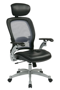 Professional Light Air Grid® Back Chair with Adjustable Headrest • Breathable Light Air Grid® Back   with Adjustable Lumbar Support • Thick Padded Contour Leather Seat • One Touch Pneumatic Seat Height Adjustment • 2-to-1 Synchro Tilt Control with Adjustable Tilt Tension • Top Grain Leather • Adjustable Leather Headrest • Cantilever Platinum Finish Arms with PU Pads • Platinum Finish Aluminum Base    with Dual Wheel Carpet Casters • This product has achieved GREENGUARD certification