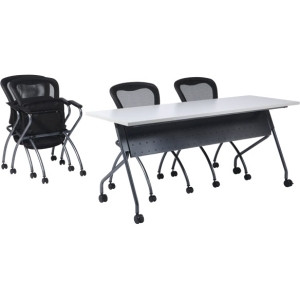 "Office Star 4' Black Frame with Grey Top Rectangle Top - Four Leg Base - 4 Legs - 48"" Table Top Length x 24"" Table Top Width x 1"" Table Top Thickness - 29.5"" Height - Yes - Gray Top, Black Frame - Steel, Polyvinyl Chloride (PVC)"