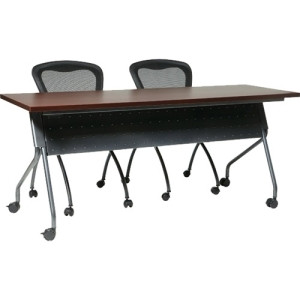 "Office Star 4' Black Frame with Mahogany Top Rectangle Top - 4 Legs x 48"" Table Top Width x 24"" Table Top Depth x 1"" Table Top Thickness - 29.5"" Height - Yes - Mahogany Top, Black Frame - Polyvinyl Chloride (PVC)"