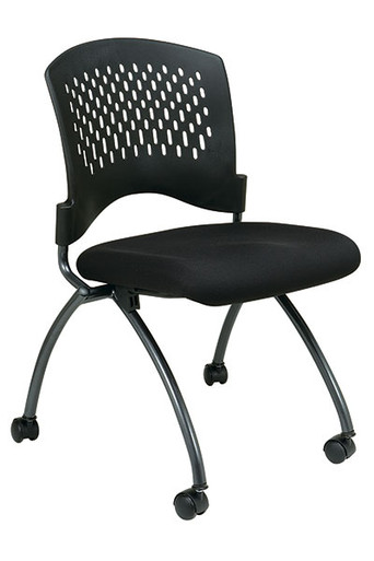 Deluxe Armless Folding Chair (2 pack) • Ventilated Plastic Back • Seat Available in Coal FreeFlex®   or your Choice of Custom Fabric • Titanium Finish Frame with Dual Wheel Carpet Casters • Horizontal Nesting • This product has achieved GREENGUARD certification