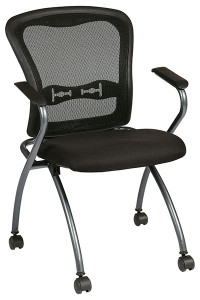 ProGrid® Back Visitors Chair (2 pack) • Breathable ProGrid® Back with Built-in Lumbar Support • Seat Available in Coal FreeFlex®   or your Choice of Custom Fabric • Nylon Armrests • Titanium Finish Frame with Dual Wheel Carpet Casters • Horizontal Nesting • This product has achieved GREENGUARD certification  Folding Seat:  Seat Down Seat Up Horizontal Nesting