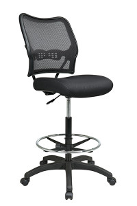 Deluxe Dark AirGrid® Back Drafting Chair with Black Mesh Seat • Breathable Dark AirGrid® Back with Built-in Lumbar Support • Thick Padded Black Mesh Seat • Pneumatic Seat Height Adjustment • Adjustable Chrome Footring • Heavy Duty Nylon Base with Dual Wheel Carpet Casters • This product has achieved GREENGUARD certification