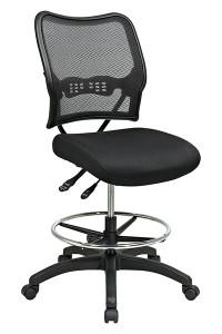 Deluxe Dark AirGrid® Back Drafting Chair with Black Mesh Seat and Dual Function • Breathable Dark AirGrid® Back with Built-in Lumbar Support • Thick Padded Black Mesh Seat • Pneumatic Seat Height Adjustment • Dual Function Control • Adjustable Chrome Footring • Heavy Duty Nylon Base with Dual Wheel Carpet Casters • This product has achieved GREENGUARD certificatio