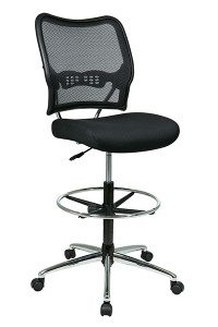 Deluxe Dark AirGrid® Back Drafting Chair with Chrome Finish Base • Breathable Dark AirGrid® Back with Built-in Lumbar Support • Thick Padded Black Mesh Seat • Pneumatic Seat Height Adjustment • Adjustable Chrome Footring • Heavy Duty Chrome Finish Base   with Dual Wheel Carpet Casters • This product has achieved GREENGUARD certification