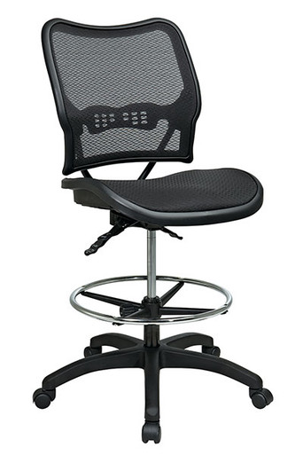 Deluxe Dark AirGrid® Seat and Back Drafting Chair with Dual Function Control • Breathable Dark AirGrid® Seat and Back   with Built-in Lumbar Support • Pneumatic Seat Height Adjustment • Dual Function Control • Adjustable Chrome Footring • Heavy Duty Nylon Base with Dual Wheel Carpet Casters • This product has achieved GREENGUARD certification