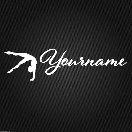 Gymnast personalised vinyl wall sticker door vehicle custom name