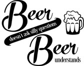 BEER Understands vinyl wall sticker words fridge man cave bar removeable deco