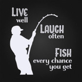 LIVE LAUGH FISH vinyl wall sticker saying decal for man cave garage bar office