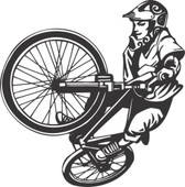 BMX bike stunt extreme action vinyl wall sticker boy bedroom bicycle decal