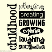 CHILDHOOD PLAYING CREATING vinyl wall art sticker words nursery classroom kids