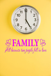 FAMILY BECAUSE TWO PEOPLE FELL IN LOVE vinyl wall art sticker saying hearts home