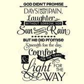 GOD DIDN'T PROMISE ... vinyl wall sticker saying words inspiration spiritual