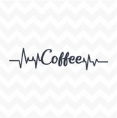 Coffee Heartbeat vinyl wall art sticker for office home kitchen cafe cannister