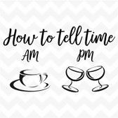 How To Tell Time Wine Coffee vinyl wall art sticker saying decor home kitchen