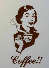Coffee retro lady vinyl wall art sticker kitchen decor dining cafe decal DIY