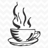 Coffee cup vinyl sticker for kitchen wall cafe tea room cupboard decal DIY 22x30 cm