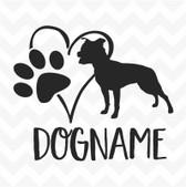 Staffordshire Personalised Heart Dog Paw custom name vinyl sticker wall car Staffie