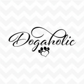 Dogaholic heart pawprint  vinyl sticker dog suit wall window car kennel window